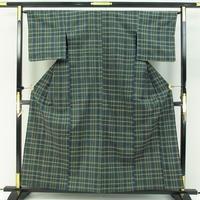 k2391□ざざんざ織 格子縞 熨斗目色 単衣 極上の逸品 美品
