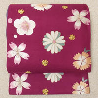 ◆紫野美術工芸 袋帯 六通 梅桜撫子菊◆新品未使用 11y3