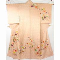◆高級訪問着 花束文 金駒刺繍 梅 菊 牡丹◆美品 4m34