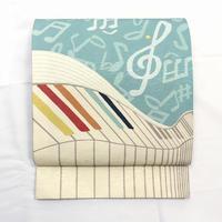 ◆フォルテピアノ 京袋帯 音符 ブルー 正絹◆新品 4mn8