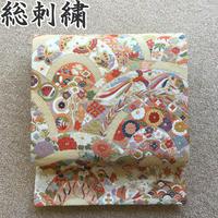 ◆極上の逸品!総刺繍 袋帯 青海波 六通◆美品 04y57
