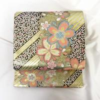 ★桜文の可愛らしい袋帯 六通 正絹★美品01y35