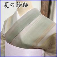 ◆極上の逸品! 紗 小紋 縞 居敷当て付◆美品 05mk71