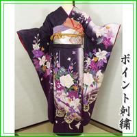 ★洋花 振袖 桜紋意匠 ポイント刺繍★美品 011z28
