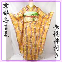 ◆京都志ま亀 極上の逸品 振袖 重ね衿,長襦袢付き◆松竹梅花車 12z19