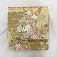 ◆彩きらら織 六通 袋帯 正絹 金糸◆美品01my28
