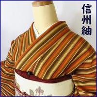 ◆信州紬 縞 正絹◆しつけ付・美品 01m21