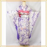 ★桜文の振袖 青紫 正絹 成人式 卒業式★美品 6z78