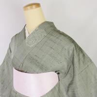 ◆狛犬 飛び柄 紬 正絹◆しつけ付・美品 6mt26