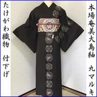 ◆たけがわ織物 本場奄美大島紬 付下げ 9マルキ泥染め◆証紙付 06mt68