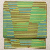 ★縞 袋帯 紬 正絹 緑★美品! 11y1