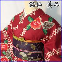 ◆銘仙 バチ衿 アンティーク美品◆美品 06mt55