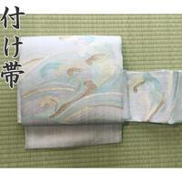 ◆夏帯 紗 荒波 作り帯/付け帯 銀糸◆美品 04mr38