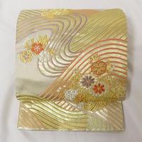 ★華やか&清楚な袋帯 桜菊 流水 六通 正絹★美品 6y30