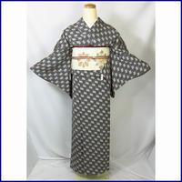 ◆粋な小紋 モノトーン 正絹 ちりめん◆美品 01m10