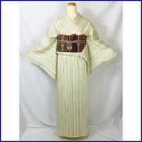 ◆粋なよろけ縞 小紋 正絹◆美品 01m9