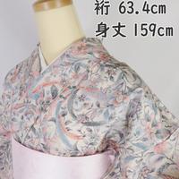 ◆上質!染紬 更紗 鳳凰 唐花 正絹◆美品 10mt16