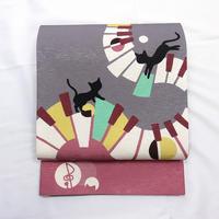 ◆ねこふんじゃった 京袋帯 ピアノ 猫 絹◆新品 4mn10