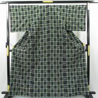 n2755▼最高級 草木染 綾の手紬染織工房製 格子縞 綾の手紬 極上の逸品 美品
