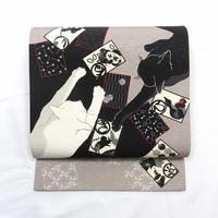 ◆いろはにこねこ 京袋帯 正絹 かるた 猫◆新品 4mn11