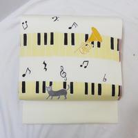 ◆作家物 染名古屋帯 猫 ピアノ トランペット 正絹 ネコ◆美品 01mn17