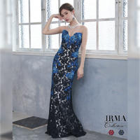 【IRMA】フラワー刺繍デザインレース/ベアLongDress【91593】