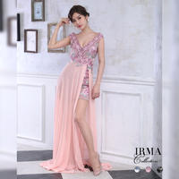 【IRMA】フラワー刺繍デザイン /シアーレース /ショートインLongDress【95503】
