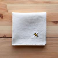 リネン ハンカチ 白 ミツバチ刺繍