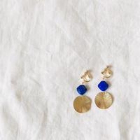 Italia glass blue square × sun brass  swing  ピアス / イヤリング