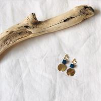 Wood BLUE & sun ピアス14kgf  / イヤリング