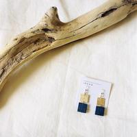 Wood BLUE スクエアW ピアス14kgf  / イヤリング
