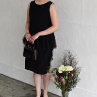No.1712001 ダブルフェイスサテン×ドットチュール リトルブラックドレス ブラック Made in Japan