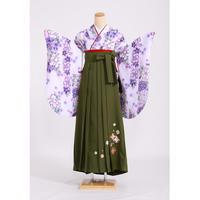 レンタル卒業袴セット 白・ピンク311 刺繍グリーン620