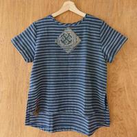 手織り生地 半袖シャツ/Lサイズ