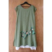 ハンドペイント 半袖ドレス/ジャスミン