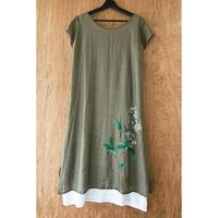 ハンドペイント 半袖ドレス/ワイルドフラワー