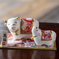干支丑和紙貼寿親子飾り 21102