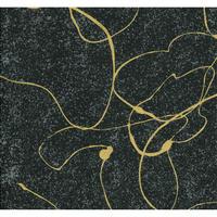 【もみしわ 厚み加工】黒「koku」ラインゴールド柄61493  美濃和紙友禅染紙(手染め美濃和紙)