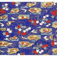 【もみしわ 厚み加工】青1306-7433 美濃和紙友禅染紙(手染め美濃和紙)