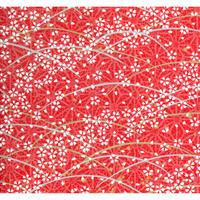 【もみしわ 厚み加工】赤柄1306-8884 美濃和紙友禅染紙(手染め美濃和紙)