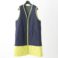 Quilted long vest (navy × yellow)