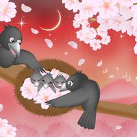 A4イラスト135 桜の奏でる子守唄
