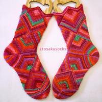 かかとから編むドミノ編み靴下 PDFダウンロードパターン