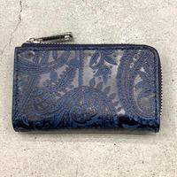 BAGGY PORT 藍染レザー 型押しペイズリー キーケース