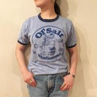 80's  USA製 ブルー 人魚×船長プリントTシャツ