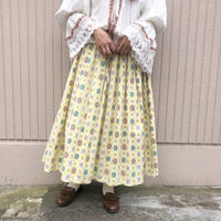 1950's~60's vintage エンブレム柄パステルイエロービンテージスカート