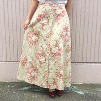 パステルグリーン 花柄スカート