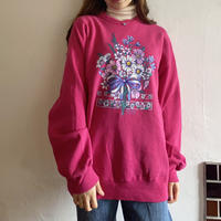 Shocking pink flower sweatshirt
