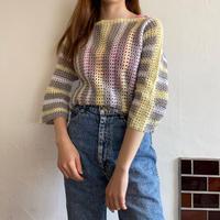 Handknit crochet pullover