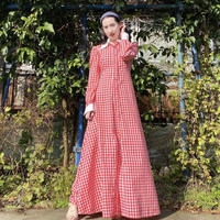 1970s handmade gingham check long dress